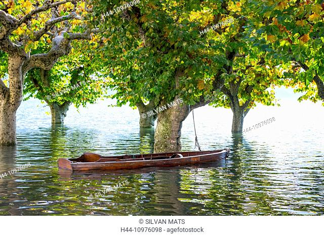 Boat on a flooding, Maggiore with trees in Ascona, Switzerland