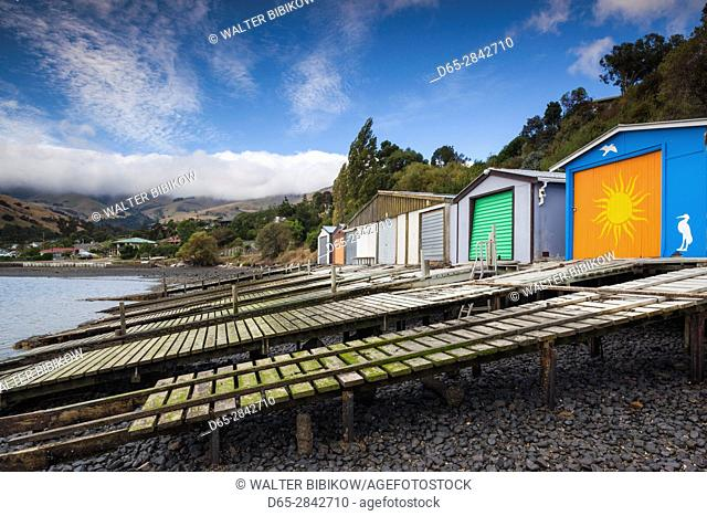 New Zealand, South Island, Canterbury, Banks Peninsula, Akaroa-area, Duvauchelle, boathouses