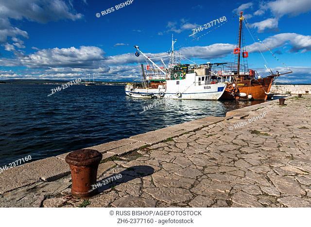 Boats docked in the village of Tkon, Pašman Island, Dalmatian Coast, Croatia