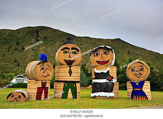 Hay Bale people along Highway 83 in the town of Kurow, Waitaki Valley, North Otago, South Island, New Zealand