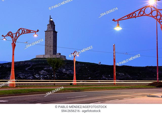 Maritime promenade with Hercules lighthouse, A Coruña, Spain