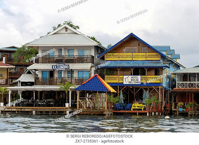 Panama Bocas del Toro seafront. Panama. Shoreline of Bocas Town with hotels, restaurants, and water taxis, Bocas del Toro, Panama