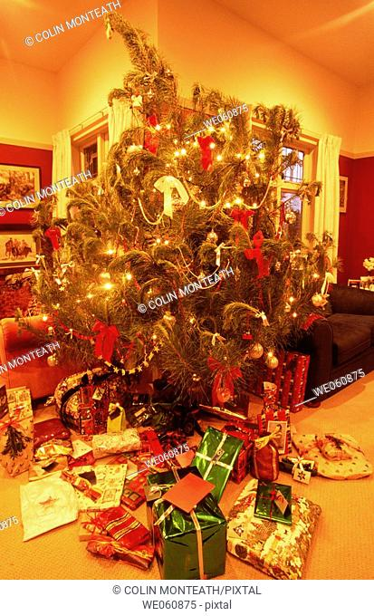 Christmas tree with presents. Christchurch. New Zealand