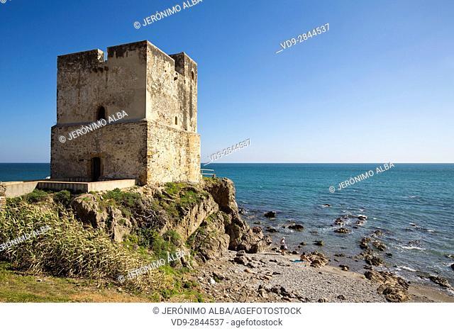 Torre de la Sal or Salto de la Mora. Beach Playa Ancha, Casares. Malaga province Costa del Sol. Andalusia Southern Spain, Europe