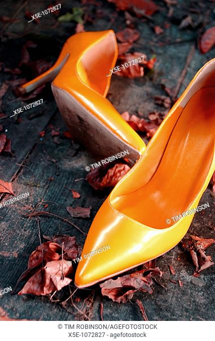 Orange high heel shoes discarded on rustic leaf strewn floor