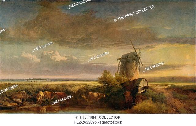 'Mills on the Fens', c1853. Artist: Henry Bright
