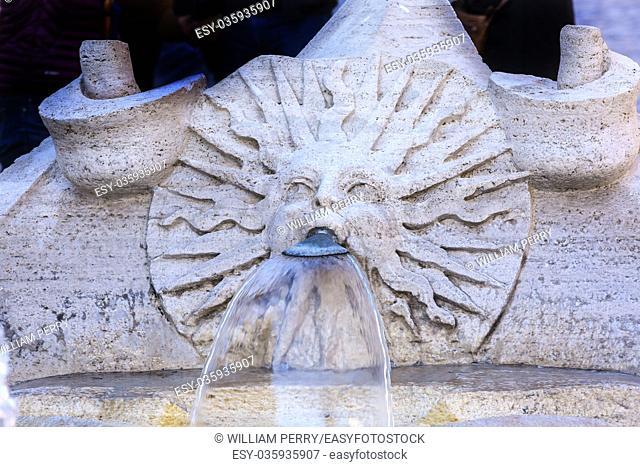 Bernini Sinking Ugly Boat Fountain Fontana della Barcaccua Spanish Steps Piazza Di Spagna Rome Italy. Commissiong in 1623 to Pietro Bernini and his son