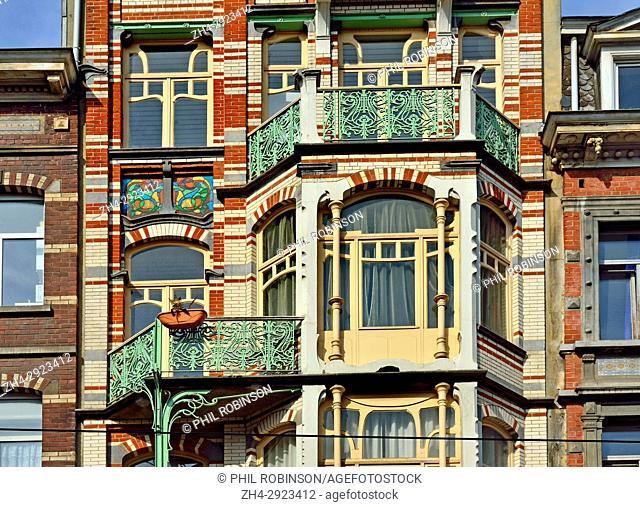 Brussels, Belgium. Ancienne Maison De Beck, 9 Avenue Paul Dejaer. Art nouveau building (Gustave Strauven, 1902)