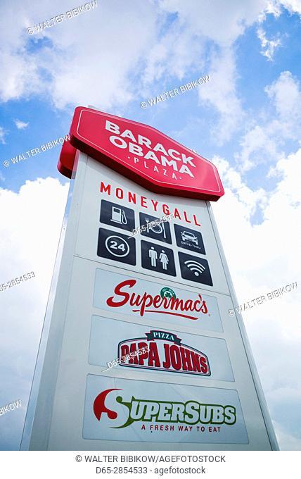 Ireland, County Offaly, Moneygall, motorway plaza named for US President Barack Obama, Barack Obama Plaza, sign