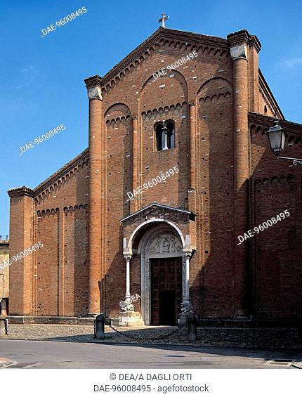 Basilica Nonantola Abbey facade, near Modena, Emilia-Romagna. Italy, 12th century