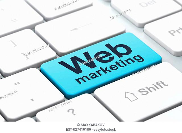 SEO web development concept: computer keyboard with word Web Marketing, selected focus on enter button background, 3d render