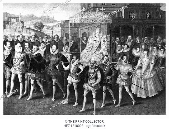 Procession of Queen Elizabeth I to Blackfriars, London, 16 June 1600, (1896). The queen is being carried on a litter and accompanied by her courtiers