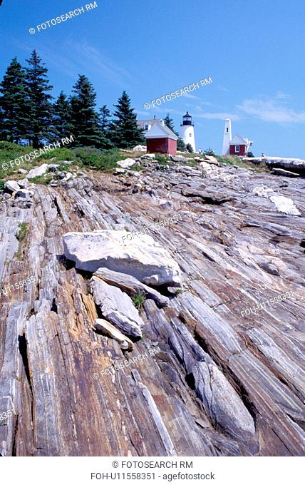 lighthouse, Maine, ME, Pemaquid Point, Bristol, Pemaquid Head Light along the rocky coast of the Atlantic Ocean