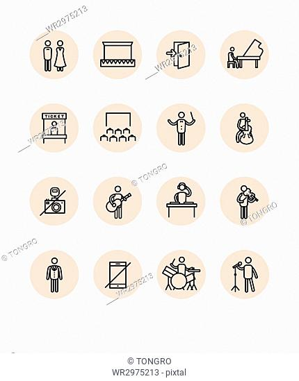 Set of pictogram icons related to concert