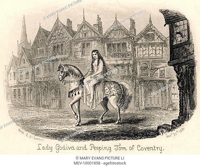 Lady Godiva rides her horse naked through the streets of Coventry while Peeping Tom looks on