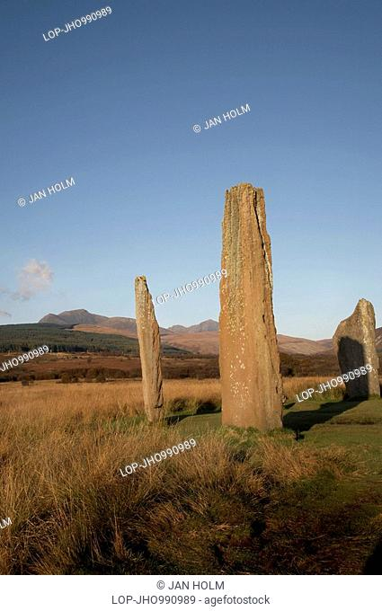 Scotland, North Ayrshire, Machrie Moor, Standing stones dating from around 1800-1600 BC at Machrie Moor on the Isle of Arran
