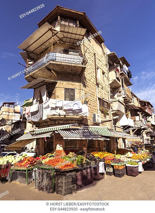 The Arabic suq in the city of Haifa, Israel. , Middle East