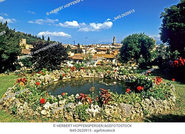 Flower Graden, Pond, little Fountain, Florence, Tuscany, Italy