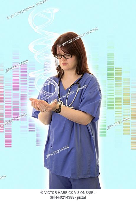 Doctor holding DNA (deoxyribonucleic acid) strand