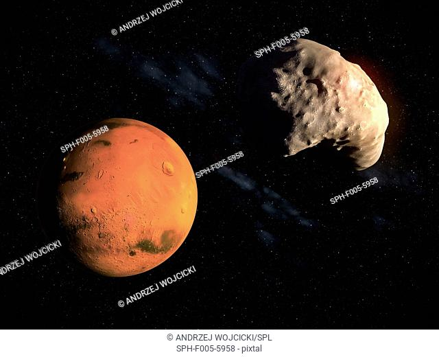 Mars and Deimos, computer artwork