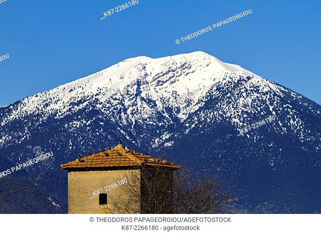 A pigeon house in a farm at Madineia and Menalon mountain in the background. Arcadia, Peloponnese