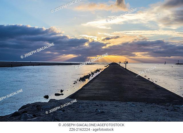 Mission Bay Channel Jetty. San Diego, California, United States. Photographed during sunset