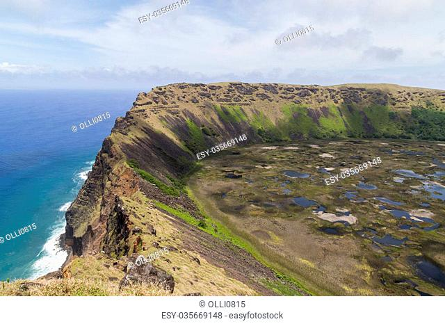 Photograph of the crater of volcano Rano Kau on Rapa Nui, Easter Island, Chile