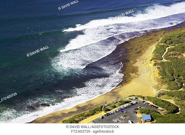 Famous Bells Beach, near Torquay, Victoria, Australia - aerial