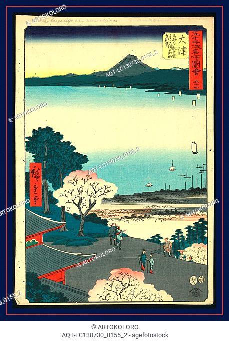 Otsu, Ando, Hiroshige, 1797-1858, artist, [ca. 1855], 1 print : woodcut, color ; 36 x 24.7 cm., Print shows a bird's-eye view of pilgrims ascending hillside to...