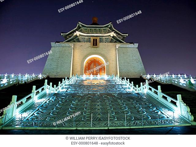Facade Door Sculpture Chiang Kai-Shek Memorial Monument Hall Taipei Taiwan at Night Stars