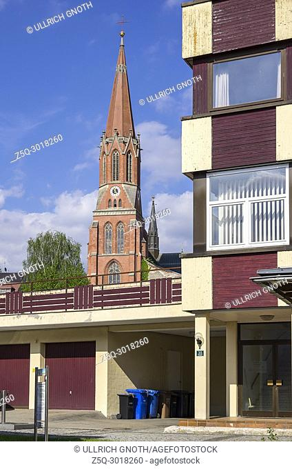 Modern residential architecture and Catholic parish church St. Nikolaus in Zwiesel, Bavarian Forest, Bavaria, Germany