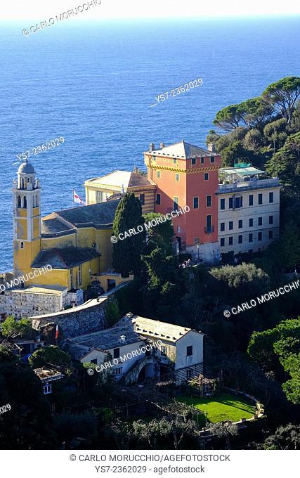 San Giorgio church seen from Castello Brown, Portofino, Genova, Liguria, Italy, Europe
