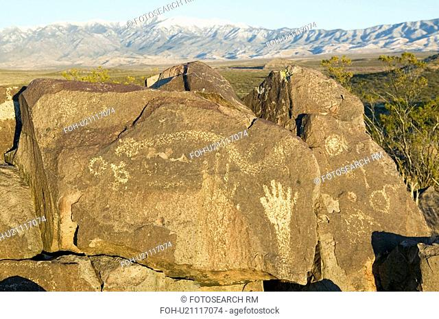 Three Rivers Petroglyph National Site, a (BLM) Bureau of Land Management Site, features an image of a hand, one of more than 21