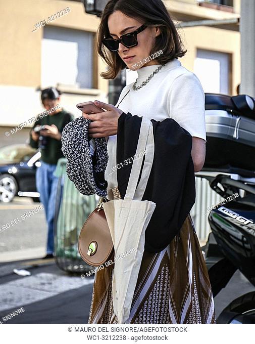 PARIS, France- September 27 2018: Women on the street during the Paris Fashion Week