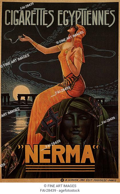 Egyptian cigarettes Nerma by Camps, Gaspar (1874-1942)/Colour lithograph/Art Nouveau/1924/Spain/Private Collection/119x77/Poster and Graphic...