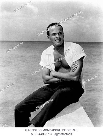 Portrait of Harry Belafonte next to the sea. Portrait of American actor and musician Harry Belafonte (Harold George Belafonte) with folded arms in front of the...