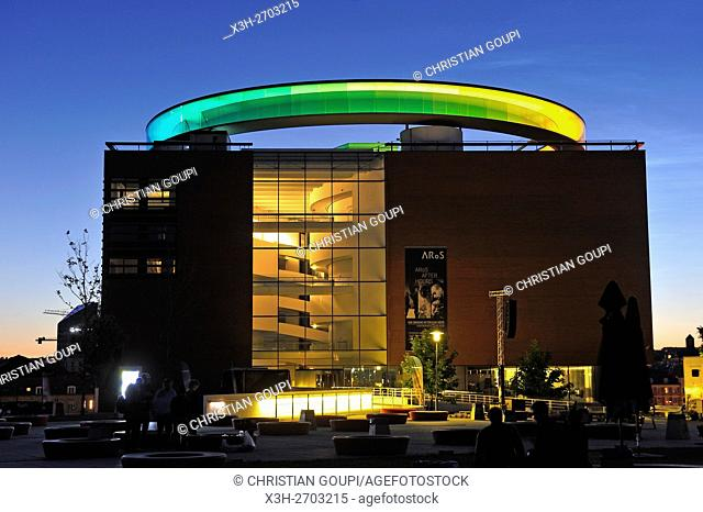 ARoS Aarhus Kunstmuseum (designed by Danish architects Schmidt Hammer Lassen) topped with the installation ''Your rainbow panorama'' a circular skywalk with...