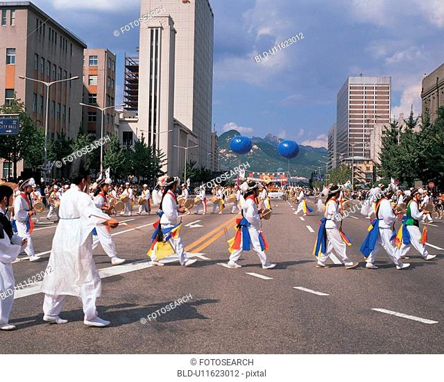 traditional percussion quartet, tradition, samulnori, people, korea, film