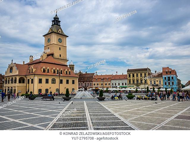 Council Square, main square of the Brasov, Romania with building of former City Hall called Council House (Casa Sfatului)