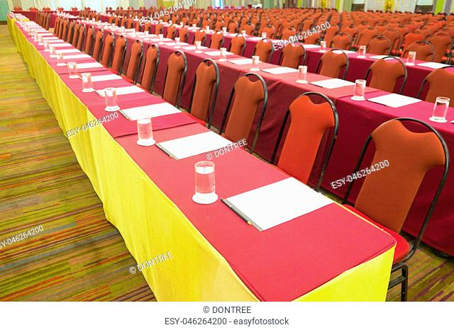 The image of lecture table in seminar room, ready to seminar