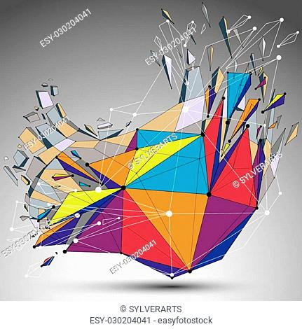 3d vector digital wireframe object broken into different particles and refractions, colorful geometric polygonal structure with lines mesh