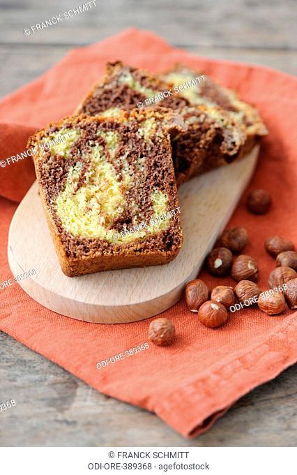 Chocolate and hazelnut marble cake