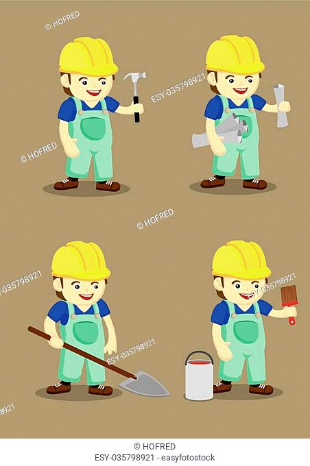 Set of four vector illustration of cute industrial worker wearing yellow helmet and overall with hand holding work tools in cartoon style isolated on plain...