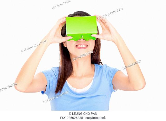 Woman watching though virtual reality