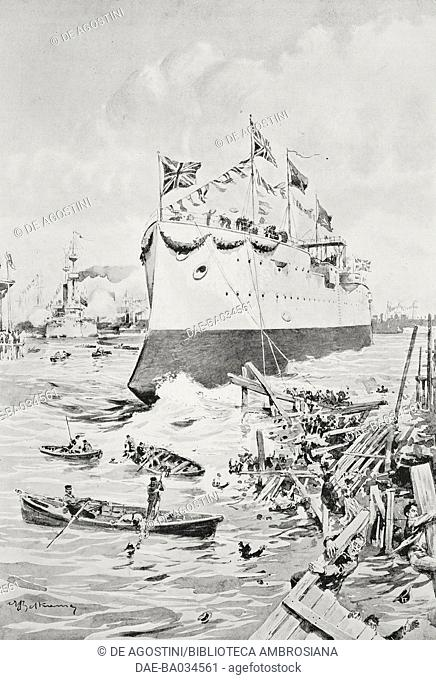 Disaster during the launch of the British battleship Albion in Blackwall, United Kingdom, drawing by Achille Beltrame (1871-1945), from L'Illustrazione Italiana