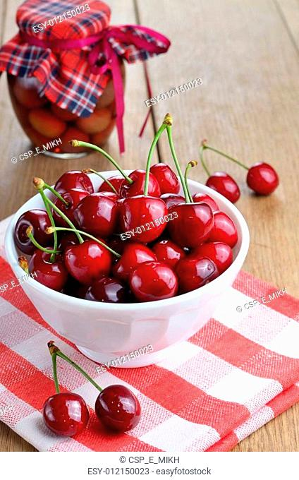 Ceramic Bowl of organic Cherries