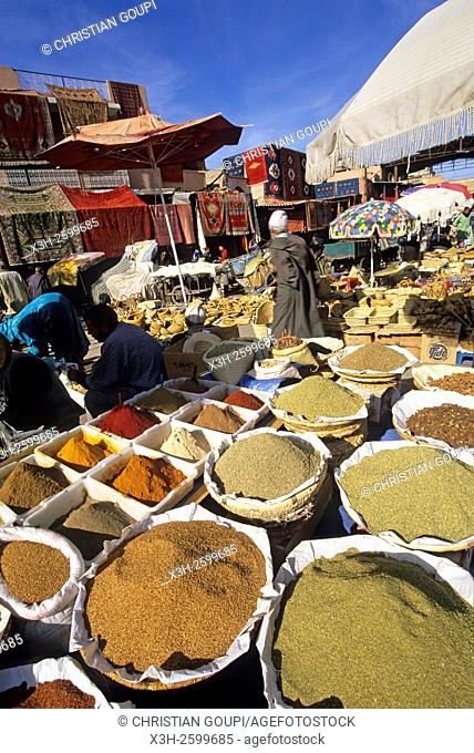 spices souk in the medina of Marrakech, Morocco, North Africa