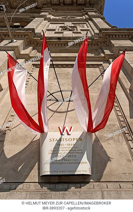 Information board with Austrian flags at the Staatsoper opera house, Vienna, Vienna State, Austria