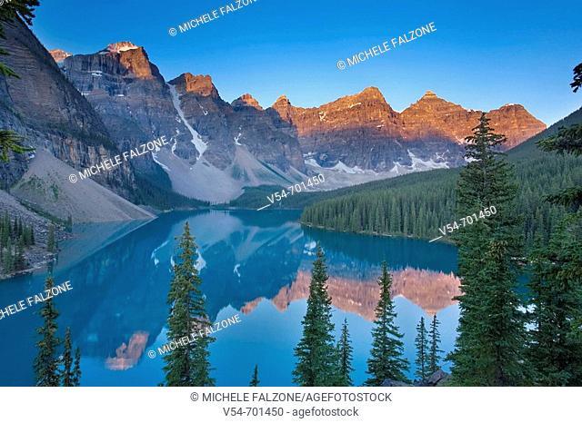 Lake Moraine and Valley of 10 Peaks Wenkchemna Peaks at sunrise, Banff National Park, Alberta, Canada