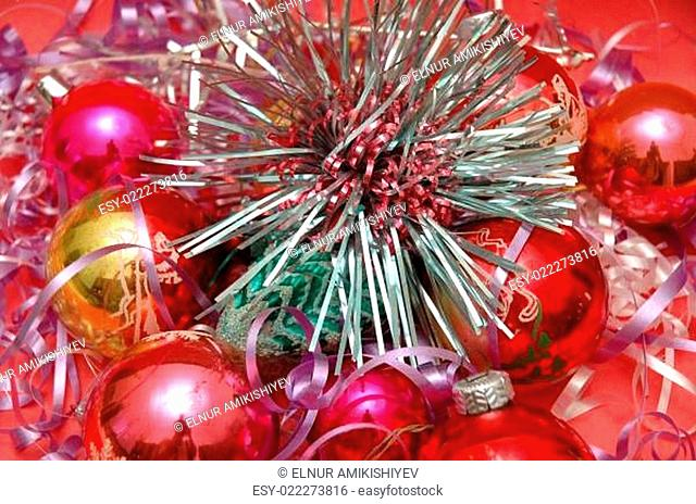 Various Christmas decorations on red background